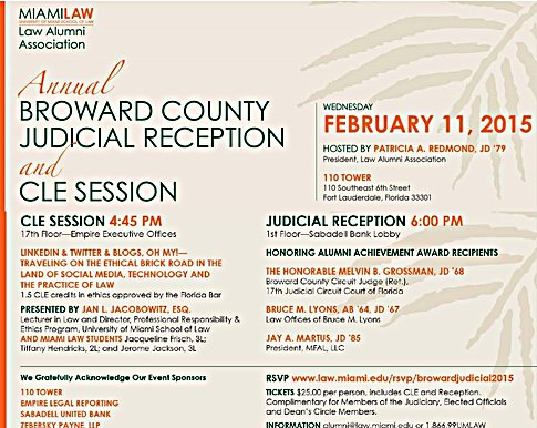 ZP Sponsors University of Miami School of Law & Its Annual Broward Judicial Reception