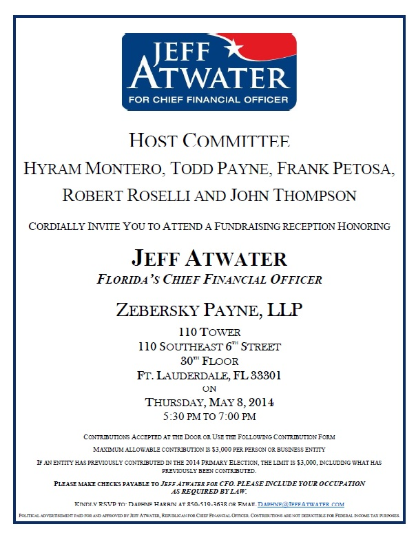 Zebersky Payne Shaw Lewenz, LLP Hosts Reception for Jeff Atwater – Candidate for FL CFO