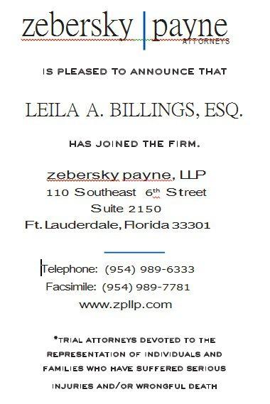 Leila A. Billings Joins Zebersky Payne Shaw Lewenz, LLP