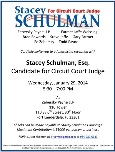 Zebersky Payne Shaw Lewenz, LLP Hosts Fundraising Reception for Stacey Schulman, Candidate for Circuit Court Judge