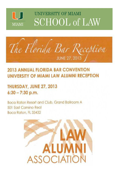 Zebersky Payne Shaw Lewenz, LLP is a proud sponsor of University of Miami School of Law and its annual Florida Bar Reception