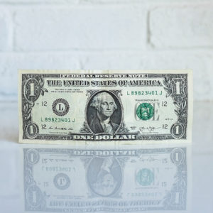 dollar bill standing up