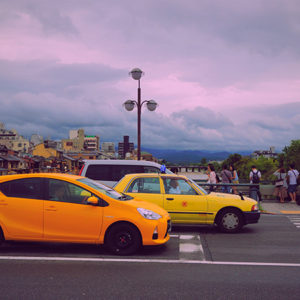 yellow cars in the street