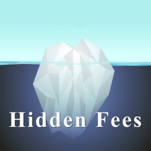 graphic image blue iceberg with words hidden fees