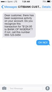 Citi Bank Spam Message