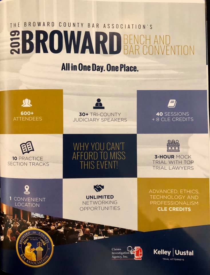 The ZPSL Team is a proud sponsor of the Broward County Bar Association's 2019 Bench and Bar Convention.